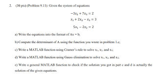 30 pts problem 9 11 given the system of equations