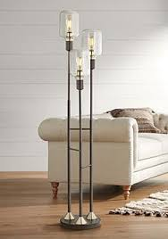 glass floor lamp. Menlo Lane Black-Bronze 3-Light Seedy Glass Floor Lamp L