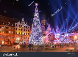 Christmas Night Light Show Christmas Tree Light Laser Show On Stock Photo Edit Now