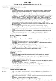 Transition Manager Resume Samples Velvet Jobs
