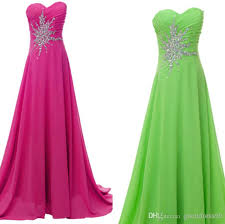 Stock Hot Pink/Lime Green Long Prom Dresses Chiffon Beading/Stone Party Bll  L/Formal Gowns/Evening Dresses Size 6-8-10-12-14-16 Prom Dresses Online  with ...