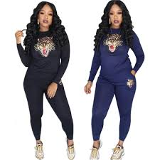 Womens Designer Sweat Suits 2019 Womens Tiger Head Sequins Designer Casual Long Sleeved Tops Two Piece Sports Jogger Pants Set Tracksuit Sweat Suits Outfits Sweat Suits From
