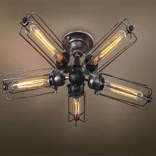 vintage industrial ceiling fans vintage industrial barn metal fans cage ceiling lamp flush mount steampunk hanging