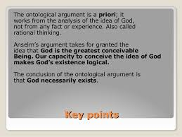 theistic proofs for god 6 key pointskey points the ontological argument