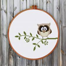 Owl Cross Stitch Pattern Extraordinary Funny Owl Cross Stitch Pattern Modern Cute Nursery Bird Cross Stitch Kit
