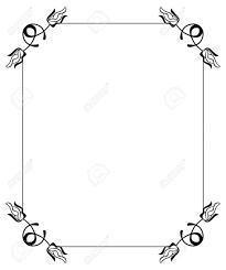 シルエット フラワー フレーム抽象的な花のシンプルな黒と白のフレームベクター クリップ アート