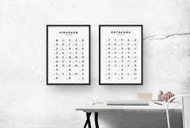 Details About Hiragana And Katakana Chart Print Set Japanese Alphabet Poster Japan Wall Art