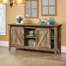 tv stand weathered oak wood sliding