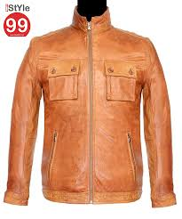 men tan leather jacket 53 off rs 6488 00 only free extra