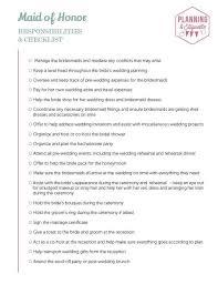 Printable Wedding Party Duties Checklist Mywedding
