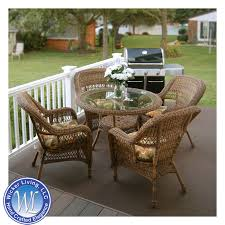 round wicker dining table and chair set