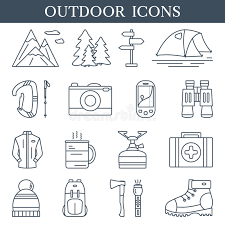 flyers logo outline trekking and outdoor linear icons set of hiking and camping outline