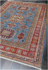 interesting blue and red rug picturesque fine tribal kazak wool