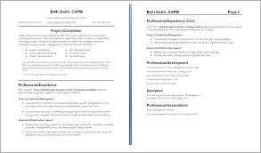 Examples Of Two Page Resumes Directory Resume