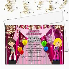 Childrens Disco Invitations Greeting Cards Invitations 5 X Personalised Kids Childrens