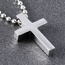 stainless steel small cross pendant necklace p0354