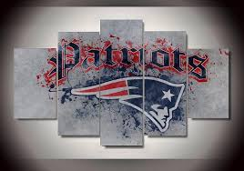 5 panel new england patriots sports logo modern home wall decor canvas picture art hd print on ny giants canvas wall art with nfl sports canvas store