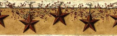 Interior Place  Tan Maroon CB5505BD Decorative Stars Wallpaper Country Style Borders