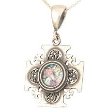 jerum cross pendant roman glass and 925 sterling silver made in the holy land