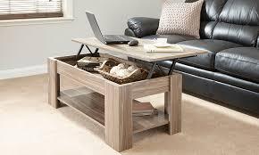 new caspian walnut lift up top coffee table with storage shelf