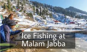 ice fishing with snowfall at swat