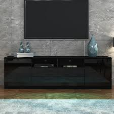 180cm tv stand cabinet wood entertainment unit gloss storage shelf w 4 drawers 2 doors black crazy s