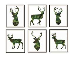 animal print wall decor new set of 6 camouflage print silhouette deer poster art prints 8 x 10