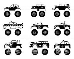 モンスター トラックの自動車ビッグなタイヤと道路漫画車玩具子供から