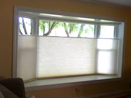 Charming Glass Window With Levolor Cellular Blinds And Beige Accent Wall  For Living Room Decor
