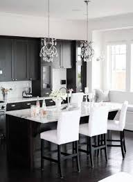 black kitchen design ideas. astounding white black colors fitted kitchen come with rectangle shape island and wooden stools marble countertops along design ideas d
