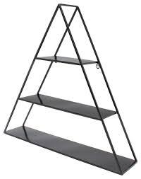 tildan 3 tier triangle floating metal wall shelf black