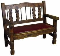 Rustic Painted Benches From MexicoBench With Padded Seat