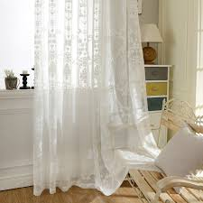 European White Embroidered Voile Curtains Bedroom Sheer Curtains for ...