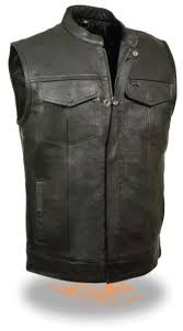 Milwaukee Vest Size Chart Details About Mens Soa Club Style Open Neck Motorcycle Vest Milwaukee Premium Buffalo Leather
