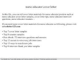 Nurse Educator Resume Examples Instructor Cover Letter Sample Nurse Educator Cover Letter Pictures
