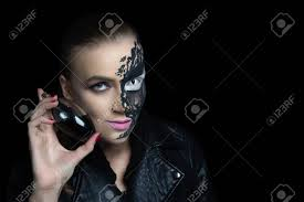 creative makeup for crazy party black lines paint streaks big white eye