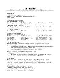 Theater Resume Sample By Northwestern University Career Services
