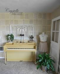 Crystelle Boutique - vintage music sheets as wallpaper how to
