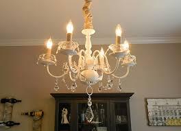 brass chandelier makeover after