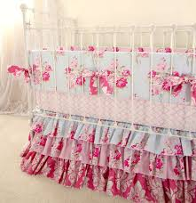 Pink And Blue Roses Baby Girl Crib Bedding Shabby Chic Images On Incredible  For Il Fullxfull ...