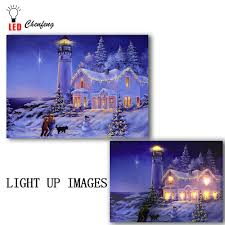 Lighted Christmas Artwork Us 14 99 25 Off Led Canvas Print Artwork Lighted Up Wall Art Cottage And Lighthouse Snowman Christmas Night Oil Painting New Year Decor Kid Gift In