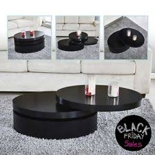 Modern black coffee table Marble Modern Black Coffee Table Round Rotating Contemporary Living Room Furniture Ebay Round Coffee Table Ebay