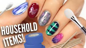 5 Easy Nail Art Designs Using HOUSEHOLD Items! - YouTube