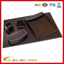 5 piece faux leather desk set espresso brown office mat pad