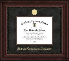 michigan technological university diploma frames certificate  gold medallion suede mat mahogany diploma frame