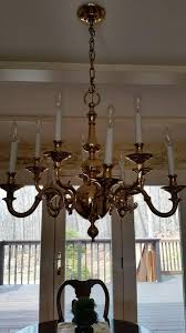 vintage solid brass chandelier ceiling lamp colonial williamsburg style 10 light 1822112591