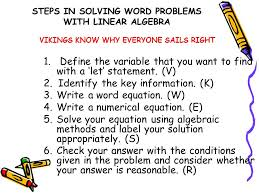 steps in solving word problems with linear algebra 1