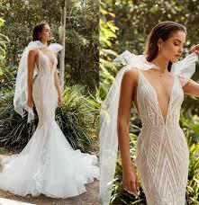 2019 elie saab mermaid wedding dresses deep v neck bow strap sweep train lace bridal gowns custom made plus size wedding dress ball gown cal wedding