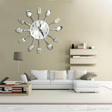 3d diy wall clocks home decor modern design stainless steel knife fork spoon og wall clock kitchen quartz needle knife fork clock nb clocks clocks