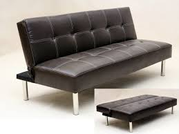 sofa bed. Faux Leather 3 Seater Sofa Bed Brown Black
